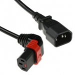 230v Connection Cable C14 Lockable Up Angled - C13 Black 1m
