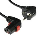 Powercord - 230v Cee 7/7 Male(angled) To C13 (right Angled) Lockable - 1m Black